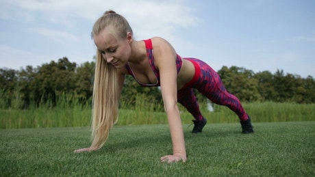 Young woman exercising outside
