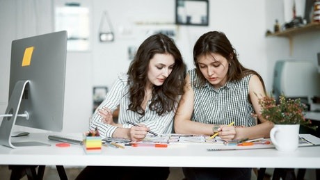 Young women talk about design project in modern office