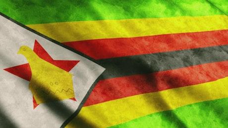 Zimbabwe waving flag, 3D animation