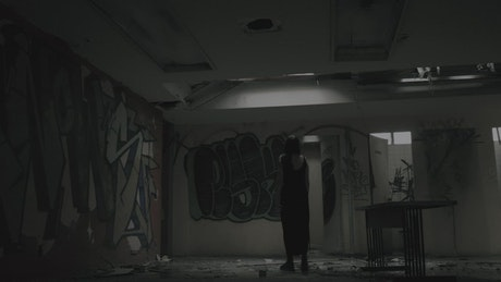 Zombie at an abandoned building