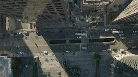 Zoom top aerial shot of traffic in LA