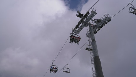 Zooming in at ski lift tower