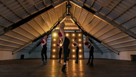 Zumba group dancing in studio